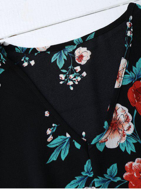 Top Floral à Col V Des Épaules Nues - Noir S Mobile