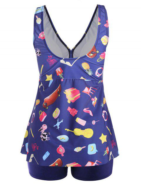 shop Printed Padded Plus Size Tankini Set - PURPLISH BLUE 4XL Mobile