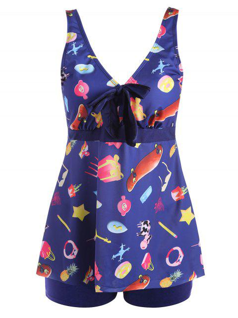 latest Printed Padded Plus Size Tankini Set - PURPLISH BLUE 2XL Mobile