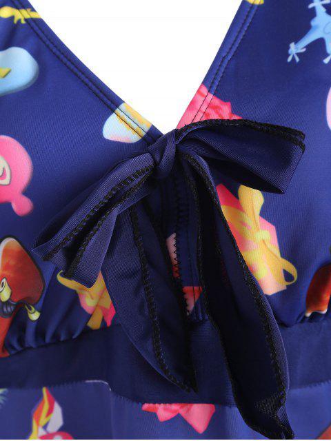 latest Printed Padded Plus Size Tankini Set - PURPLISH BLUE 2XL Mobile