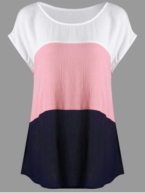 fashion Plus Size Cap Sleeve Crinkle Blouse - COLORMIX XL Mobile