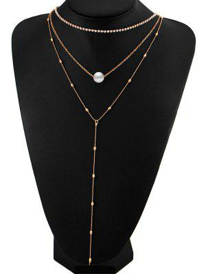 Collier En Perles Faux Pearl Strass En Couches - Or