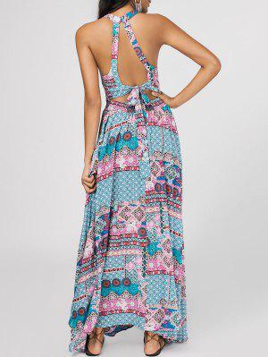 Bowknot Vestido Corte Maxi Tribal - Multicolor M