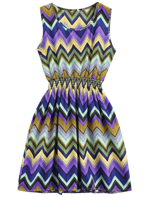 Smocked Panel Geometric A Line Mini Dress - Purple S