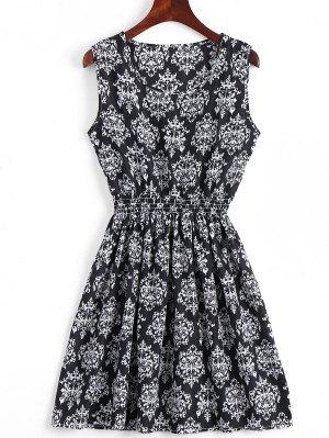 Smocked Panel Snowflake A Line Mini Dress - Black M