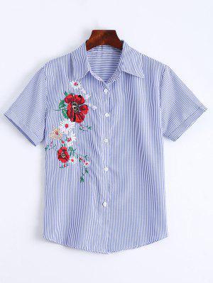 Botão Floral Remendado Acima Da Camisa Listrada - Listras