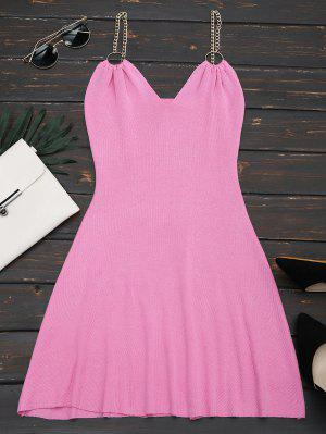 Ring Embellished Knitted Flare Dress - Rosy Pink
