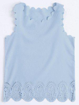 Halón Festoneado Ahueca Hacia Fuera La Camiseta Sin Mangas - Azul Claro S