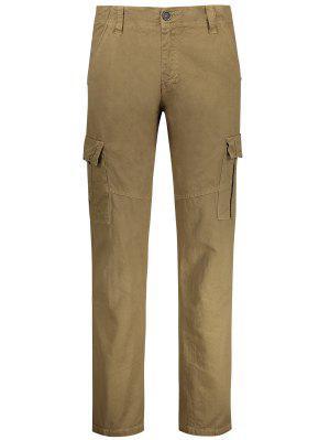 Pantalones De Carga Rectos Con Múltiples Bolsillos - Caqui 36