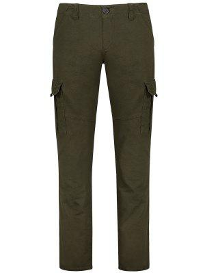 Bolsillos Con Cremallera Zip Fly Straight Cargo Pants - Verde Oliva 32