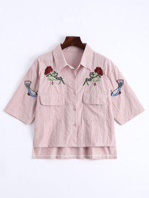 Camisa Floral Com Botões Remendados Para Bolsos - Rosa
