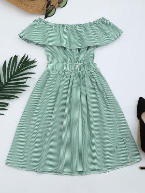 Vestido Fuera Del Hombro A Rayas  Con Espalda Abierta - Verde M