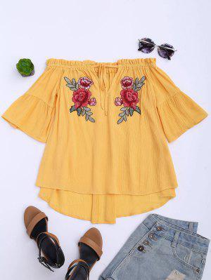 Floral Bordado De La Parte Superior Del Hombro - Amarillo Xl