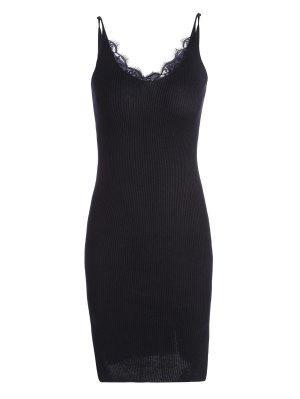 Vestido De Punto Con Reborde Lateral - Negro