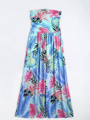 Leaves Print Strapless Maxi Dress - Multi M