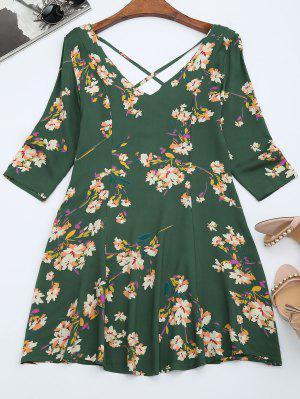 V Neck Floral Print Flared Dress - Green L