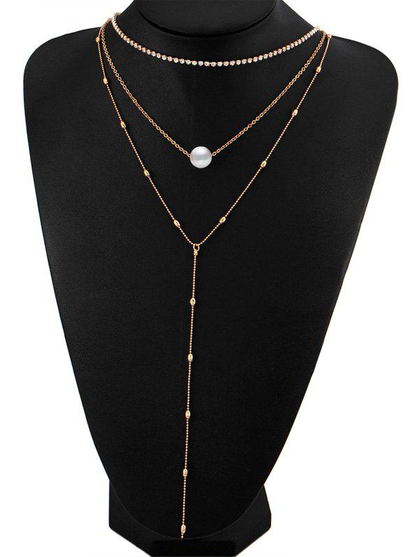 Layered Rhinestone Faux Pearl Necklace - GOLDEN