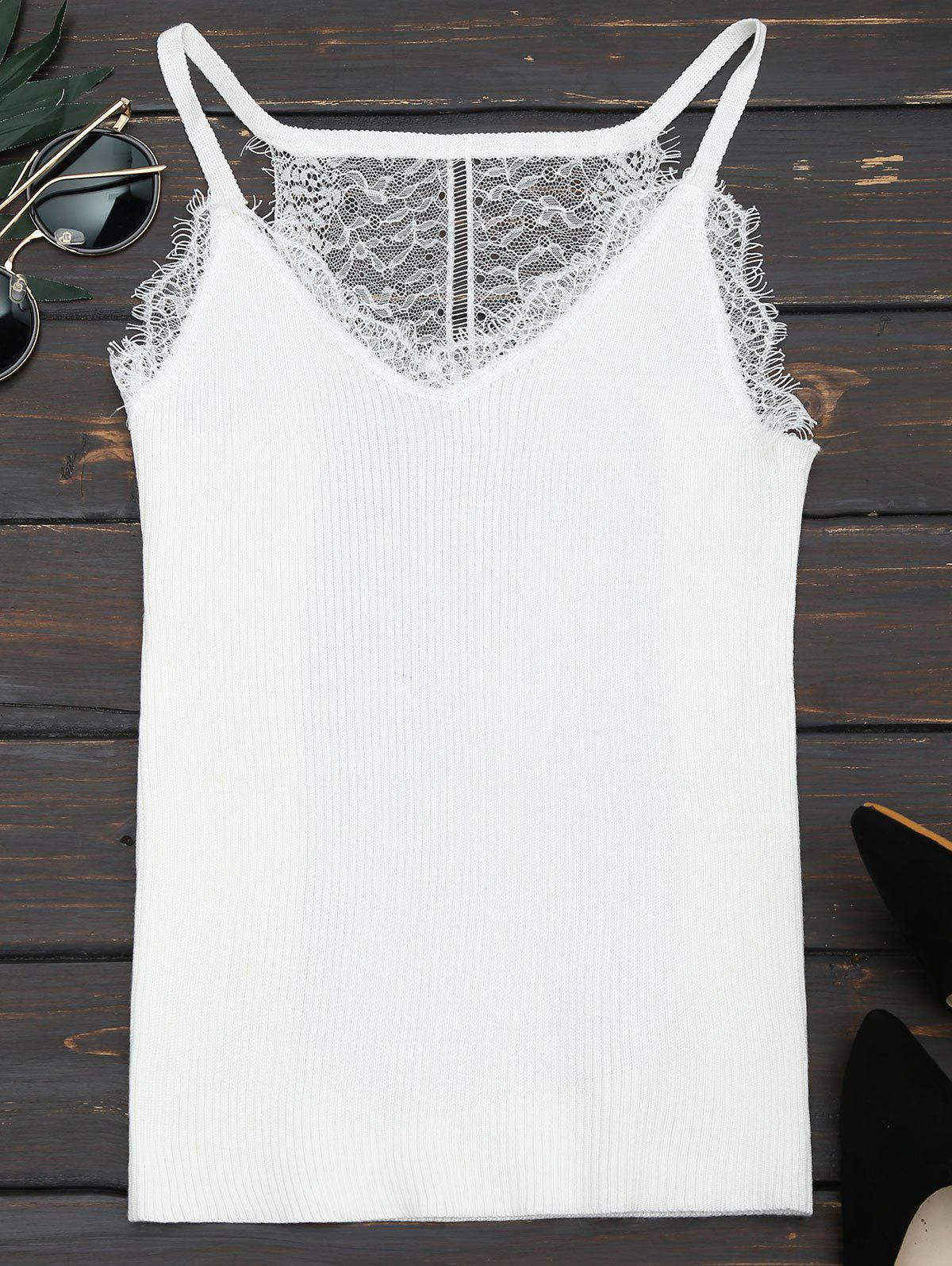Lace Panel Ribbed Knitted Cami Top 216958001