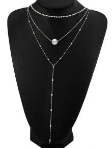 Buy Layered Rhinestone Faux Pearl Necklace - SILVER