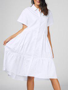 فستان شيرت قصيرة الأكمام كشكش ميدي - أبيض