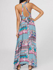 Bowknot Tribal Cut Out Maxi Dress - Multicolor L