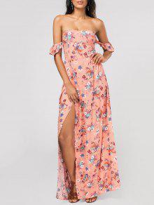 Floral Alto Slit Ruffles Maxi Vestido De Hombro - Rosa L