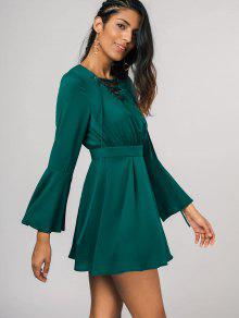 29% OFF  2019 Lace Up Bell Sleeve Skater Dress In GREEN M  e74531e0c