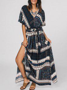 فستان ماكسي مربوط طباعة القبلية انقسام  - متعدد M