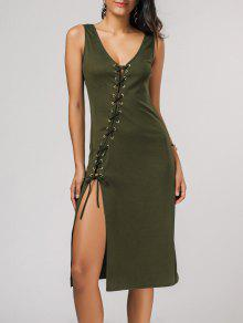 Bias Cut Lace Up Pencil Tank Dress - Army Green S
