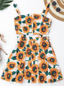 Floral Cut Out Half Buttoned Mini Dress - White S