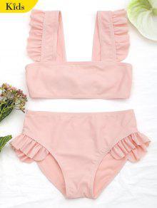 Tie Back Frilled Girls Bikini Set - Orangepink 4t