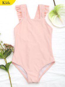 ساحة الرقبة الفتيات البنات ملابس السباحة - Orangepink 4t