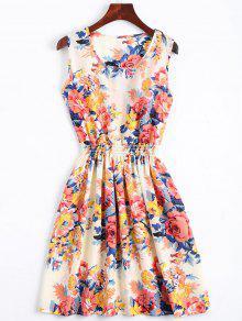 Smocked Waist Floral A Line Dress - Orangepink L