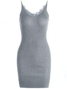 Buy Lace Panel Side Slit Knitted Dress - GRAY ONE SIZE