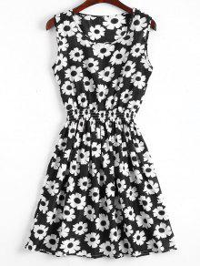 Smocked Waist Floral A Line Dress - White And Black S