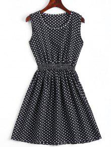 Smocked Panel Geometric A Line Mini Dress - Black M