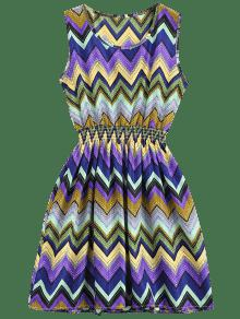 Smocked Panel Geometric A Line Mini Dress - Purple S