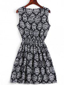 Smocked Panel Snowflake A Line Mini Dress - Black S