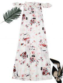 Floral Printed High Slit Maxi Dress - Floral Xl