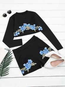 Floral Patched Top And Shorts Set - Black S
