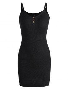كامي محبوك اللباس مصغرة - أسود
