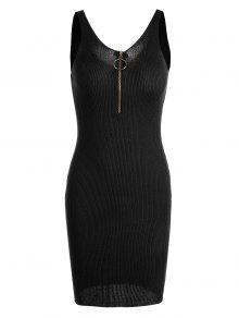 Plunging Neck Ribbed Knitted Bodycon Dress - Black