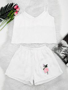 Floral Patched Cami Top And Shorts Set - White S