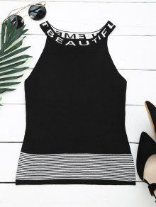 Letter Graphic Striped Knitted Tank Top - Black