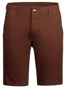 Casual Zip Fly Plain Chino Shorts - Brick-red 34