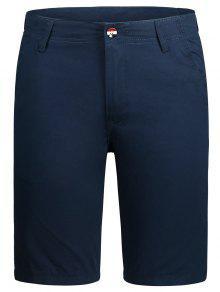 Zip Fly Pocket Plain Chino Shorts - Cadetblue 36