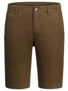 Zip Fly Pocket Cotton Chino Shorts - Brown 34