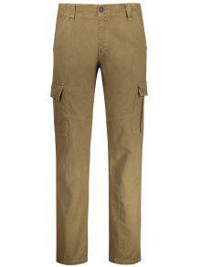 مستقيم السراويل البضائع مع جيوب متعددة - كاكي 36