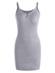 Mini Vestido De Tejido Con Tirante Fino - Gris