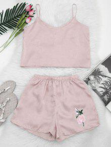 Floral Patched Cami Top And Shorts Set - Light Pink M